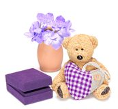 Charming teddy bear with fabric heart and gift box for jewelry Stock Images
