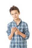 Charming Teenage Boy with his mobile phone Royalty Free Stock Photo