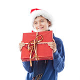 Charming Teenage boy is holding a present. Charming Teenage boy is holding a christmas present Stock Image