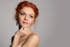 Charming thoughtful bride looking away Royalty Free Stock Photography