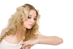 Charming thoughtful young blond girl Stock Photography