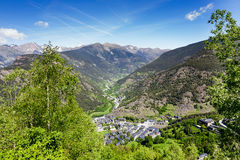 The charming town in the valley of the Pyrenees Royalty Free Stock Photos