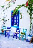 Charming traditional street bars and tavernas of Greece. Kos isl Royalty Free Stock Photos