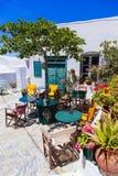 Charming traditional tavernas of Greece. Amorgos island. Old Streets of Greece,Traditional tavernas,Amorgos island royalty free stock images