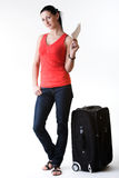 Young woman having travel idea Royalty Free Stock Images
