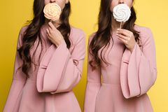 Charming twins closing eyes with lollipops and posing. Front view of charming twins in pink dresses closing eyes with lollipops and posing on isolated background stock photography