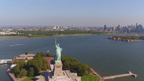 A charming view of the statue of liberty in New York stock footage