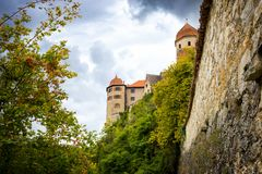 View on the Harburg Castle from the bridge over the river of Wornitz in the city of Harburg in Bavaria, Germany. royalty free stock photos