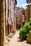 Charming village, with narrow streets. In Sorano city,Italy Royalty Free Stock Photo