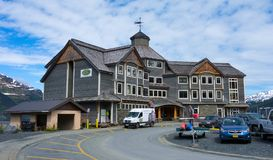 A charming waterfront hotel at a remote location in alaska stock photos