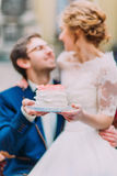 Charming wedding couple holding their wedding cake close up Stock Image