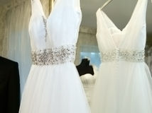 Charming wedding dress Stock Photo