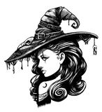 Charming witch in big fancy hat. Charming witch in a big fancy hat stock illustration