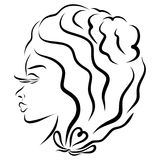 Charming woman with beautiful wavy hair, head vector illustration