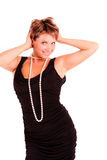 Charming  woman in a black dress Royalty Free Stock Images