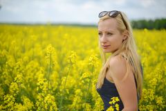 Charming woman. At  field of canola Royalty Free Stock Photos