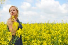 Charming woman. At  field of canola Royalty Free Stock Photography