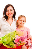 Charming woman with daughter. Young  charming woman with daughter on a white background Stock Photo