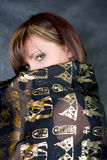 Charming woman with egyptian shawl Stock Images