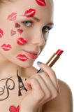 Charming woman with face art on theme of Paris Royalty Free Stock Photography