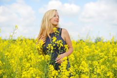 Charming woman. At  field of canola Stock Photos