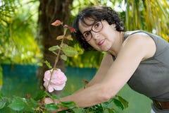 Charming woman gardener cutting roses Royalty Free Stock Photo
