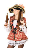 Charming woman with guns dressed as pirates Stock Image