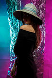 Charming woman in hat with wide brim Royalty Free Stock Photos