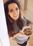 Charming Woman with a Healthy Bowl of Cereal Stock Image