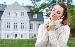 Charming woman in her autumn garden Stock Photography