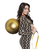 Charming Woman Holding Big Golden Tree Ball. Happy New Year. Royalty Free Stock Photo