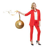 Charming Woman Holding Big Golden Tree Ball. Happy New Year. Royalty Free Stock Photos
