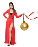 Charming Woman Holding Big Golden Tree Ball. Happy New Year. Stock Photos