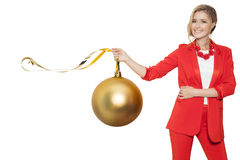 Charming Woman Holding Big Golden Tree Ball. Happy New Year. Royalty Free Stock Photography