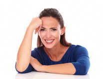Charming woman laughing and looking at you Stock Photo