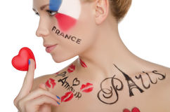 Charming woman with make-up on topic of France Royalty Free Stock Photography