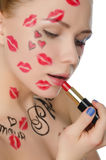 Charming woman with makeup on theme of Paris stock photos