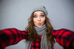Charming woman making selfie photo Royalty Free Stock Photography