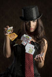 Charming woman with poker cards Royalty Free Stock Photography