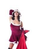 Charming woman posing as Santa Claus Royalty Free Stock Image