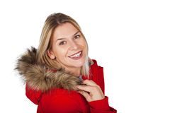 Charming woman with red jacket stock photo