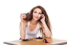 Charming woman in a restaurant Stock Image