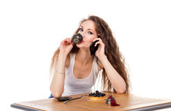 Charming woman in a restaurant Stock Images