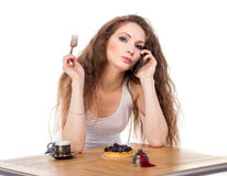 Charming woman in a restaurant Royalty Free Stock Photo
