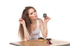 Charming woman in a restaurant Stock Photography