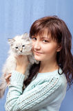 Charming woman and sibirsky nevsky kitten Stock Images
