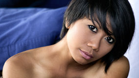 Charming woman Smile face close up and she siting Royalty Free Stock Photos