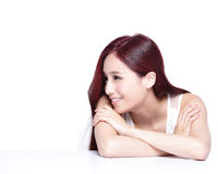 Charming woman Smile face. Charming woman face Smile and look to something empty copy space while lying isolated on white background, asian beauty Stock Images