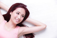 Charming woman Smile face. Portrait of a Happy young beautiful woman relax lying and look to empty area in the image, great for your design, asian beauty Stock Photos