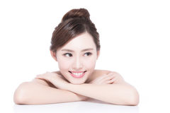Charming woman Smile face. Charming woman face Smile to you close up while lying  on white background, asian girl Stock Photo